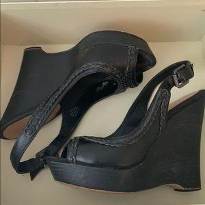 True Religion Black Wedge Sandal